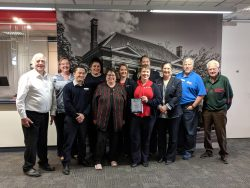 Westpac Bank Warragul staff members with branch manager Michaela Ranton, and UBC President Paul Etherington with UBC West Gisppsland Branch representatives Kevin Potter, Karen Lindorff and George Gleeson