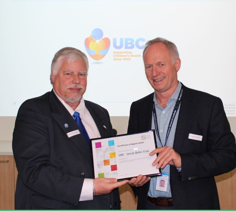 Paul Etherington. State President with Professor Andrew Sinclair, Deputy Director, Murdoch Children's Research Institute and Professor in the Department of Paediatrics, University of Melbourne