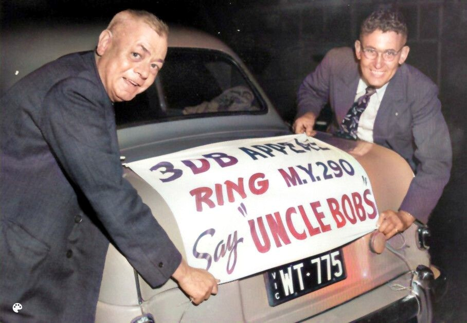 UBC Banner attached to car in 1953